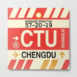 CTU Chengdu • Airport Code and Vintage Baggage Tag Design Metal Print