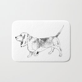 Basset Hound Ink Drawing Bath Mat