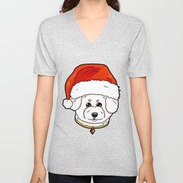 Bichon Frise Dog Christmas Hat Present Unisex V-Neck