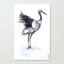 Crane, Watercolor Canvas Print