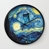 starry night Wall Clocks featuring STARRY by MiliarderBrown