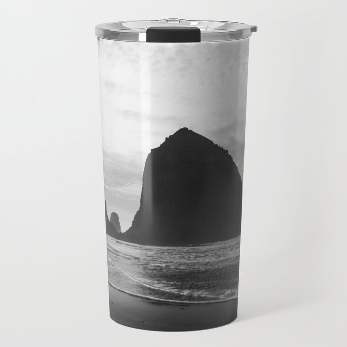 Haystack Rock in Black and White - Cannon Beach, Oregon Film Photo Travel Mug