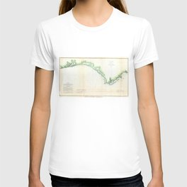 Vintage Florida Panhandle Coastal Map (1852) T-shirt