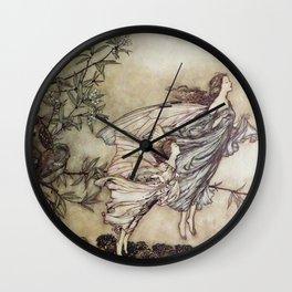 """""""Fairies Tiff with the Birds"""" by Arthur Rackham Wall Clock"""
