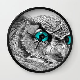 Black and White Great Horned Owl w Aqua Eyes A174 Wall Clock