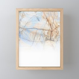 Cotton Latte Marble - Ombre blue and ivory Framed Mini Art Print