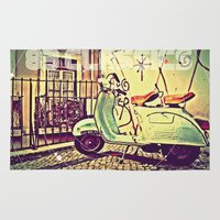 vespa Area & Throw Rugs featuring vespa by The83juice