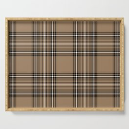 Coffee and Cream Tartan Serving Tray