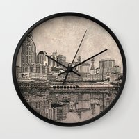 nashville Wall Clocks featuring Nashville Skyline by Janet L King