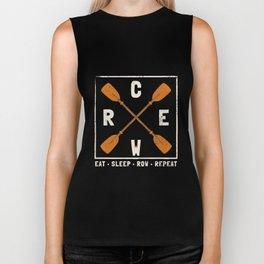 Eat. Sleep. Row. Repeat Crew Rowing T-shirt Biker Tank