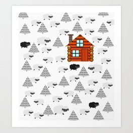 Winter cabin with sheep Art Print