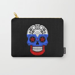 Sugar Skull with Roses and Flag of Russia Carry-All Pouch