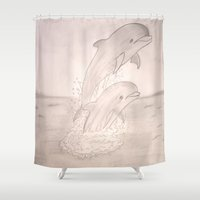 dolphins Shower Curtains featuring Dolphins by Shahadjef