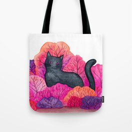 Pink Forest Black Cat Watercolor Tote Bag