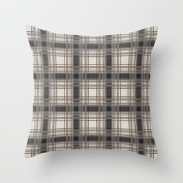 Brown Plaid with tan, cream and gray Throw Pillow