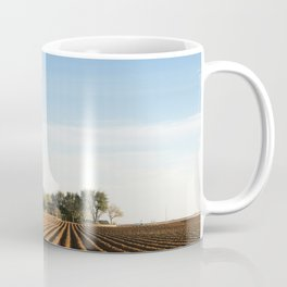 Deep rich furrows in farmland east of Lamesa in Dawson County Texas Coffee Mug
