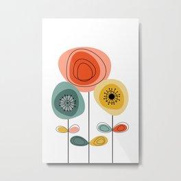 Mid Century Happy Flowers Metal Print