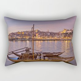 Port Wine barges, Porto at dusk Rectangular Pillow