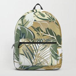 Wild Tropical Prints, Green and Gold Backpack