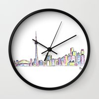toronto Wall Clocks featuring Toronto by Ursula Rodgers