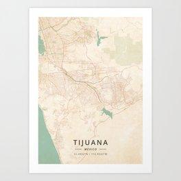 Tijuana, Mexico - Vintage Map Art Print