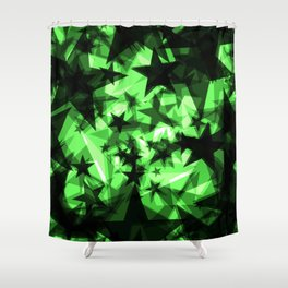 Dark green space stars with glow in the distance from the foil in perspective. Shower Curtain