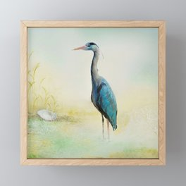 Heron Framed Mini Art Print