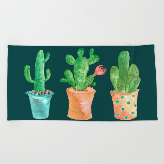 Three Green Cacti On Green Background Beach Towel
