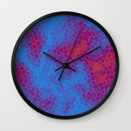 Stained glass texture of snake violet leather with Iridescent heat spots. Wall Clock