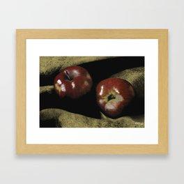 Apples on Burlap Framed Art Print