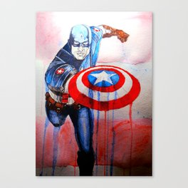 Capt. America Watercolor Canvas Print