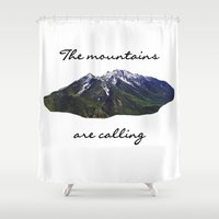 the mountains are calling Shower Curtains featuring The mountains are calling by Jess Paige B