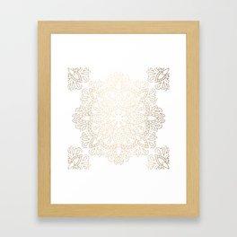 Mandala White Gold Shimmer by Nature Magick Framed Art Print