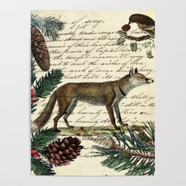 western country fairy rustic woodland nursery winter pine forest animal fox Poster