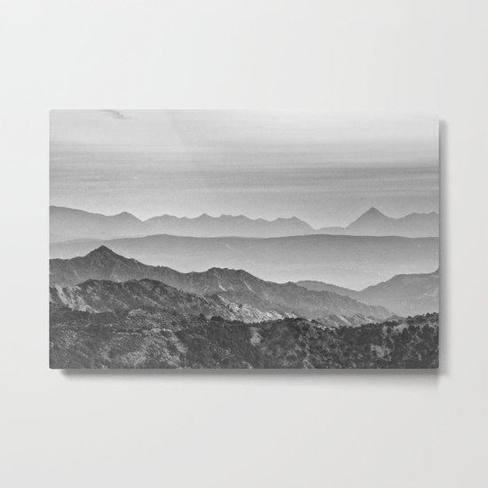 """Mountain dreams"". At sunset. BW Metal Print"