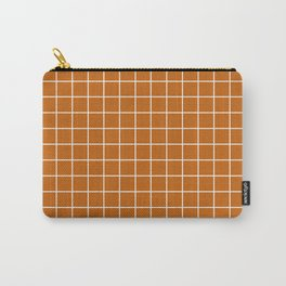 Alloy orange - brown color -  White Lines Grid Pattern Carry-All Pouch