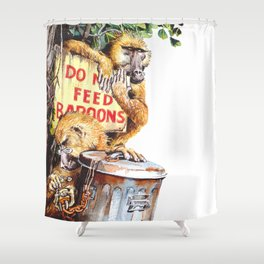 do not feed baboons Shower Curtain