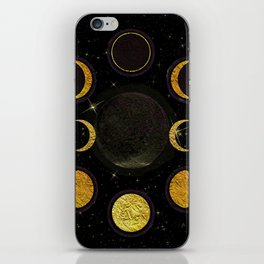 Black & Gold Moon Phases iPhone Skin