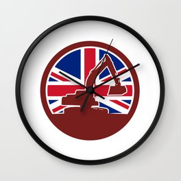 British Mechanical Digger Union Jack Flag Icon Wall Clock