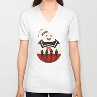 ghostbusters V-neck T-shirts featuring Ghostbusters by Bill Pyle