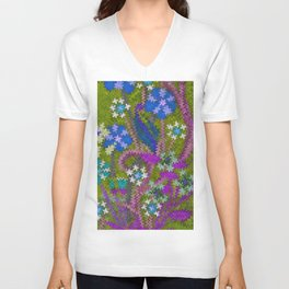 Starry Floral Felted Wool, Moss Green and Violet Unisex V-Neck