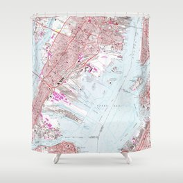 Vintage Map of Jersey City NJ (1967) Shower Curtain