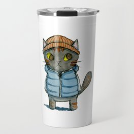 Cat with Beanie and Down Vest Watercolor Travel Mug
