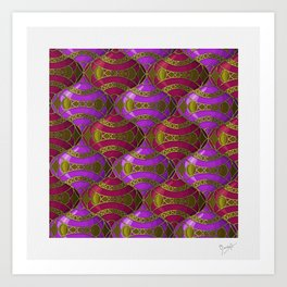 Christmas Ornament Tessellation in Red Art Print