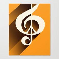 Retro Shadow Music & Peace, Orange Canvas Print