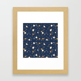Chic navy blue faux gold glitter party time Framed Art Print