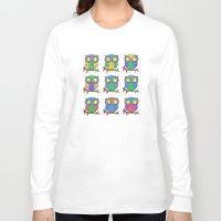 cartoon Long Sleeve T-shirts featuring Cartoon Owls by Ron Trickett