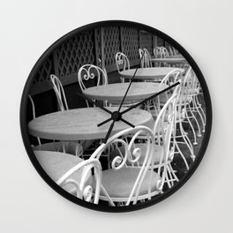 Cafe Tables and Chairs - black and white Wall Clock