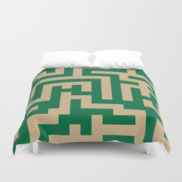 Tan Brown and Cadmium Green Labyrinth Duvet Cover