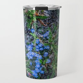 Blue Flowers at the Top of the World Travel Mug